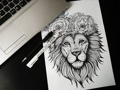 Lion custom drawing. More