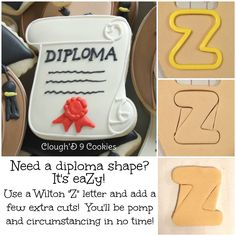 Just in case you needed another idea for graduation season! Cookies Decorados, Galletas Cookies, Iced Cookies, Cupcake Cookies, Sugar Cookies, Graduation Treats, Graduation Cupcakes, Cookie Icing, Royal Icing Cookies