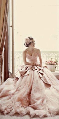 Stunning Peach And Blush Wedding Gowns You Must See ❤ See more: http://www.weddingforward.com/peach-blush-wedding-dresses/ #weddings