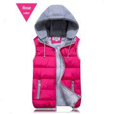 Tengo New fashion Women Vest Waistcoat Jacket Autumn and Winter Detachable Hood Vest Slim Hooded Cotton Vest Female Down
