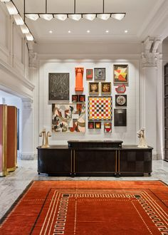 hotel reception Inside Kelly Wearstlers latest project, the Proper Hotel in San Francisco Art Deco Hotel, Hotel Reception, Reception Counter, Rooftop Lounge, Kelly Wearstler, Hotel Interiors, Hotel Lobby, Gallery Wall, Interior Design