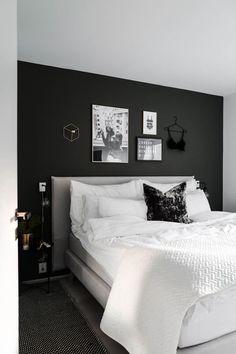 Decorating the bedroom – Eirin Kristiansen Black And Grey Bedroom, Black Bedroom Decor, Black Bedroom Design, Master Bedroom Interior, Bedroom Wall Colors, Bedroom Layouts, Room Ideas Bedroom, Home Decor Bedroom, Minimalist Room