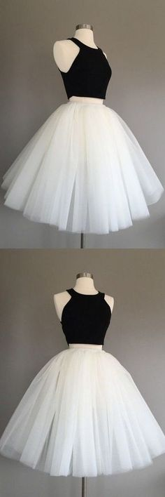 Two Pieces O-Neck Homecoming Dresses,Short Prom Dresses,Cheap Homecoming
