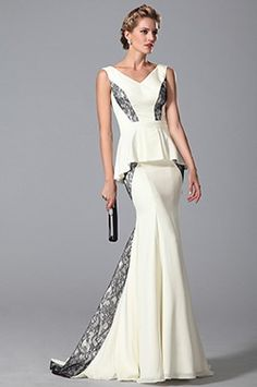 Stylish Sleeveless V Cut Trumpet Evening Dress Formal Gown (26151507)