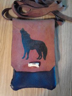 Handmade 2 Tone Leather Bag-Pouch - Howling Wolf a Wolf - Native American - Elusive Wolf  - Shipping Special