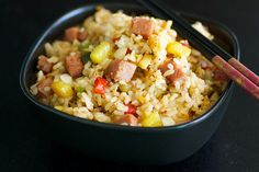 Hawaiian SPAM Fried Rice Recipe...One of the tastiest SPAM dishes I ate in Hawaii was a breakfast fried rice with diced SPAM and egg. You've eaten pork or ham fried rice and loved it, right? Well, you'll love SPAM fried rice too.