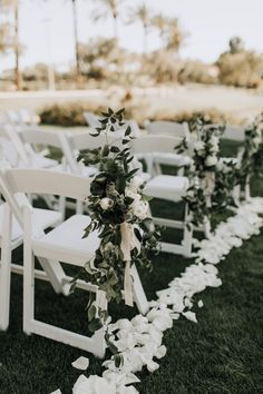 Ceremony aisle rose petals and chair greenery with soft palette floral at a romantic and whimsical styled wedding. Floral by Array Design, Phoenix, Arizona. Photographer: ceremony Ali and Ryan Romantic Chandler Wedding Wedding Aisles, Wedding Ceremony Chairs, Wedding Aisle Outdoor, Wedding Aisle Decorations, Marquee Wedding, Wedding Isle Flowers, Outdoor Wedding Flowers, Rose Petals Wedding, Aisle Flowers