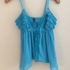 ⚡️LAST CHANCE ⚡️Victoria's Secret Lingerie Top  Victoria's Secret Lingerie Top  Aqua blue lingerie top size large. Small snag on front, hardly noticeable. Victoria's Secret Intimates & Sleepwear Chemises & Slips