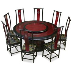 60in Rosewood Dragon Round Dining Table with 8 Chairs | Rosewood ...