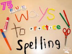 Tired of the same old boring spelling homework and activities for kids? Here are 75 FUN Ways to Practice Spelling - writing & fine motor, gross motor, oral, games & online fun! Help kids learn those spelling words in a fun, meaningful and memorable way! Spelling Activities, Literacy Activities, Teaching Resources, Literacy Centers, Spelling Worksheets, Literacy Stations, Early Literacy, Kids Spelling Games, Writing Games For Kids