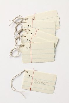 Penmanship Gift Tags Anthro tags, I've done this with just pen but the sewing paper would be cute! Haven't sown paper since HS!Anthro tags, I've done this with just pen but the sewing paper would be cute! Haven't sown paper since HS! Paper Tags, Paper Gifts, Cute Gifts, Diy Gifts, Notebook Paper, Handmade Tags, Pretty Packaging, Envelopes, Gift Tags