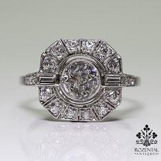 Antique Art Deco Platinum 0.83ctw Diamond Ring