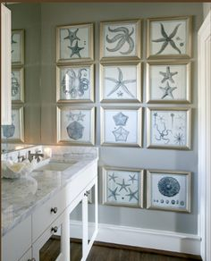 Collage of framed line drawings creates a classy nautical feel that can be changed up as often as you like.