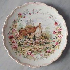 Vintage decoration plate by Royal Albert England from The Cottage Garden Year Series 'SUMMER' edition in pink rim.