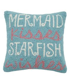 'Mermaid Kisses Starfish Wishes' Wool-Blend Throw Pillow