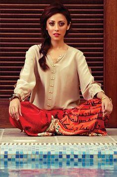Ainy Jaffri. Pakistani actress. Pakistan fashion. Colour combination though!