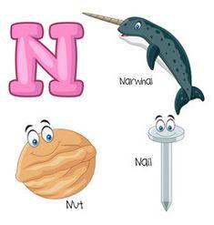 N alphabet vector Abc Cartoon, Zebra Cartoon, Cute Panda Cartoon, Cartoon Elephant, Bubble Alphabet, Alphabet Sounds, S Alphabet, Yoga For Kids, 4 Kids