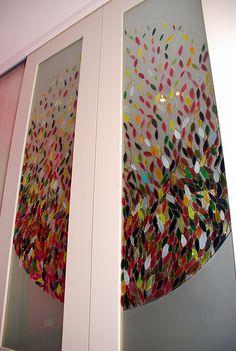 Glas en Licht Atelier Hermine van der Does: #tussendeur met motief in #glas
