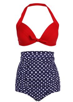 High Waist Retro Bikini Swimsuit Swimwear with Dark Blue Polka Dot Bottom and Red Top on Etsy, $29.90