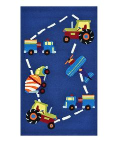 Take a look at this Blue Trucks Chica Rug by Loloi Rugs on #zulily today! A real boy's rug.