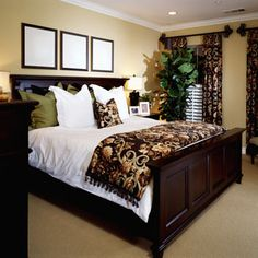 Dark Details Rich browns and luxurious wooden furniture give your room a warm, cozy, and classy feel. - Home Decorating DIY Bedroom Colors, Bedroom Sets, Home Bedroom, Master Bedroom, Bedroom Decor, Modern Bedroom, Warm Bedroom, Dream Bedroom, Dark Furniture