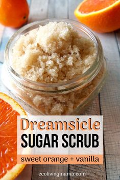 A Dreamsicle sugar scrub is so incredibly dreamy – my absolute favorite body scrub EVER! Orange and vanilla essential oils are perfect together, and this is so easy to make! Body scrubs exfoliate and moisturize to leave skin radiant and glowing. Plus homemade sugar scrubs make a great DIY gift, and this recipe has several different scent options. SO simple! #sugarscrub #diybeauty #essentialoils #bodyscrub