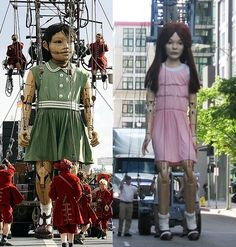I have seen these giant puppet dolls in commercials. Cool!