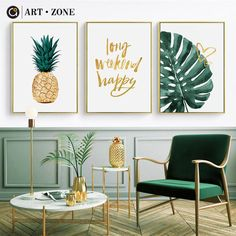 ART ZONE Gold Pineapple Nordic Canvas Painting Green Leaves Letter Art Print Poster Wall Decoration Home Decor Poster Interior Tropical, Tropical Home Decor, Green Home Decor, Tropical Furniture, Tropical Colors, Green Wall Decor, Green Wall Art, Tropical Vibes, Pineapple Painting
