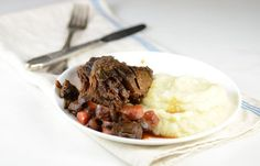 """Quick and easy Beef Brisket made in the crockpot is the perfect paleo dinner recipe. Serve with low-carb cauliflower mashed """"potatoes"""" for a keto meal."""