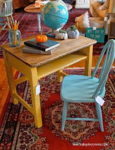 antique school desk and chair in mms milk paint desk is mustard seed yellow and