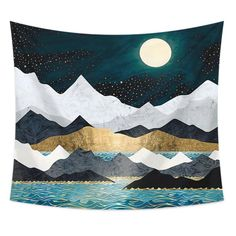 'Ocean Stars' Tapestry by spacefrogdesign Sun And Moon Tapestry, Blue Tapestry, Tapestry Weaving, Tapestry Wall Hanging, Blanket On Wall, Yellow Sunflower, Furniture Upholstery, Bedroom Themes, Room Decor
