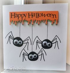 Good day Peps Halloween card for today: Spiders are vinyl die cuts cut with silhouette cameo. Embellished with google eyes & machine ...