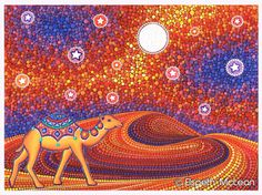 Go find adventure- artwork by Elspeth McLean #elspethmclean #camel #desert #stars
