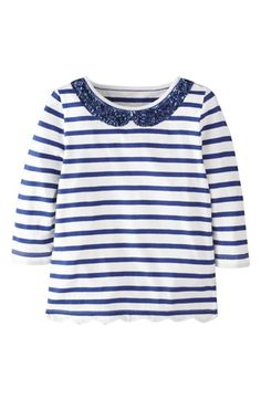 Mini Boden 'Sequin Collar' Tee (Little Girls & Big Girls) available at #Nordstrom