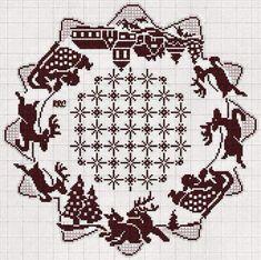 Xmas Cross Stitch, Cross Stitch Borders, Counted Cross Stitch Patterns, Cross Stitch Embroidery, Christmas Crochet Blanket, Christmas Crochet Patterns, Creative Christmas Trees, Handmade Christmas, Crochet Diagram