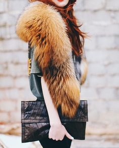 Refined style love the redhead in fur