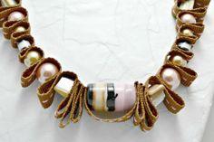 Neapolitan colored beaded ribbon necklace by AlyxAndreaDesign, $21.00