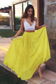 2016 Prom dress,Two-pieces prom dress,Yellow prom dress,Elegant Two Piece Prom/Evening Dress – Yellow Floor-Length Chiffon Lace