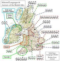 Dialects Britain Northern Ireland, British Things, British People, Map Of Britain, Great Britain, Cornwall, British History, European History, British Accent