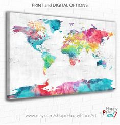 Pretty World Map Pink And Blue Large Colorful Wall Art