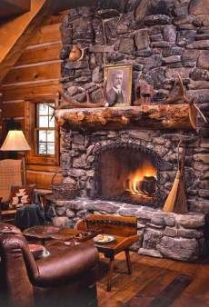 Small Log Cabins . . . BIG STONE HEARTHS! I miss the snow and the fire places in the winters.