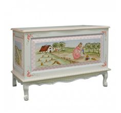 Through the Woods Toy Chest - The Through the Woods Toy Chest, shown in Antico White base finish, is an enchanting piece with wonderfully decorated scenes with a beloved little bunny and his mother. Charming in everyway, the chest is further detailed with curled legs and scrolled apron all decorated in a soft pastel palette.