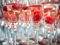 champagne with raspberries <3