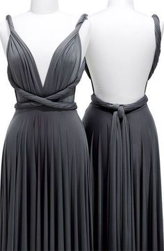 Pewter Column Deep V-Neck and Strap Backless Knee Length Prom Dresses With Twist Draped Two Birds Bridesmaid, Grey Bridesmaids, Grey Bridesmaid Dresses, Prom Dresses, Infinity Dress Bridesmaid, Evening Dresses, Infinity Dress Styles, Infinity Dress Ways To Wear, Vestido Convertible