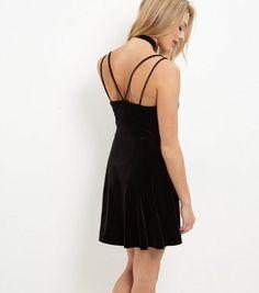 Black Velvet Lace Trim Slip Dress | New Look