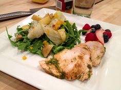 Pan Seared Herbed Chicken Breast, Arugula Salad with Roasted Fennel-Yukon Gold Potato Medley, Citrus Vinaigrette. A Delectably Healthy Summer Meal by Alexis Victorian.