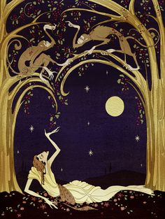 Kupti and Imani. Illustrated  by Kate Baylay. The Olive Fairy Book by Andrew Lang - published by The Folio Society.