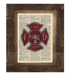 Play room??   Authentic Firefighter Cross Original Print on an Antique Upcycled Bookpage