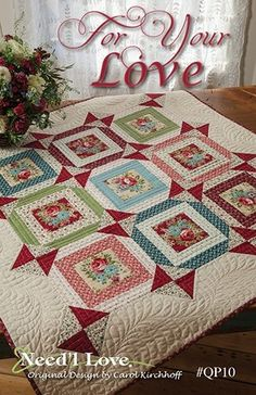 Stitch design that flows around shapes that spill over into the wide border.