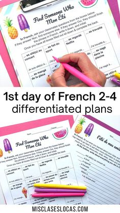 Activity for the 1st Day of French 2-4. Get students up and moving and speaking French on the 1st day of school.